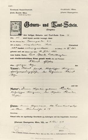 IMA-F-621220-0000 - Certificate of birth and baptism of the painter Gustav Klimt (1862-1918) - Austrian Archives / Imagno/Alinari Archives
