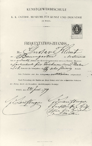IMA-F-621250-0000 - The painter Gustav Klimt certificate of attendance (1862-1918) at the School of Arts and Crafts in Vienna in 1879 signed by Ferdinand Laufberger - Austrian Archives / Imagno/Alinari Archives
