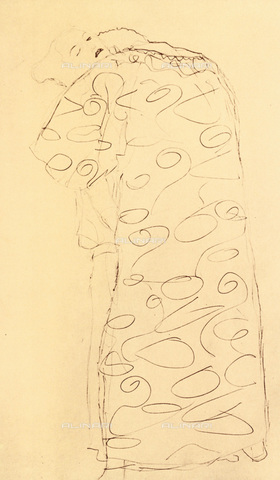 """IMA-F-621255-0000 - Study for the painting """"The Fulfillment"""" part of the frieze for Palais Stoclet in Brussels, pencil on paper, Gustav Klimt (1862-1918) - Austrian Archives / Imagno/Alinari Archives"""
