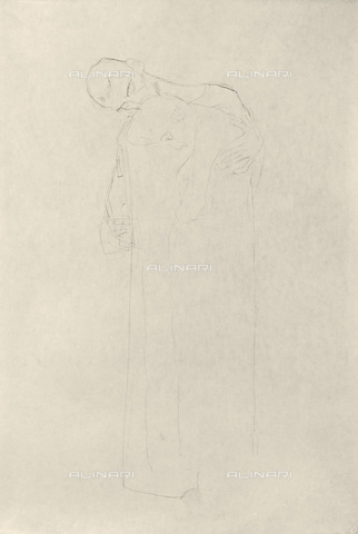 """IMA-F-621256-0000 - Study for the painting """"The Fulfillment"""" part of the frieze for Palais Stoclet in Brussels, pencil on paper, Gustav Klimt (1862-1918) - Austrian Archives / Imagno/Alinari Archives"""