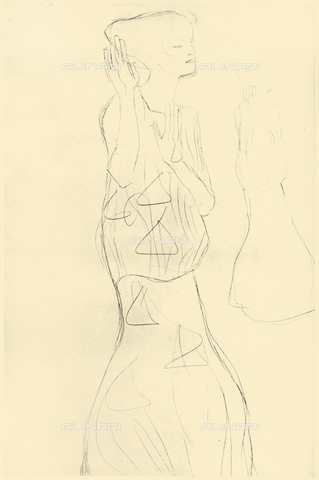 """IMA-F-621257-0000 - Study for the painting """"The Ballerina"""" is part of the frieze for Palais Stoclet in Brussels, pencil on paper, Gustav Klimt (1862-1918) - Austrian Archives / Imagno/Alinari Archives"""