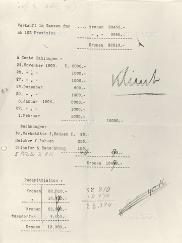 IMA-F-621265-0000 - List with the prices of paintings by Gustav Klimt sold at the exhibition of the Viennese Secession, 1904 - Austrian Archives / Imagno/Alinari Archives