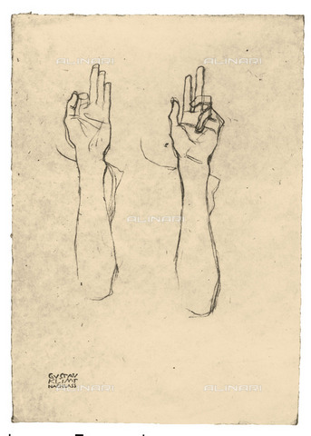 """IMA-F-621273-0000 - Two hands, study for the """"Law"""" painted panel for the University of Vienna destroyed during a fire at Immendorf Castle in 1945, pencil on paper, Gustav Klimt (1862-1918) - Austrian Archives / Imagno/Alinari Archives"""