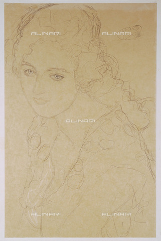 IMA-F-621274-0000 - Study for the Portrait of Ria Munk III, red and blue pencil with white highlights, Gustav Klimt (1862-1918), Private Collection - Austrian Archives / Imagno/Alinari Archives