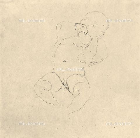 IMA-F-621282-0000 - Study for the painting Tod und Leben (Life and death), pencil on paper, Gustav Klimt (1862-1918) - Austrian Archives / Imagno/Alinari Archives