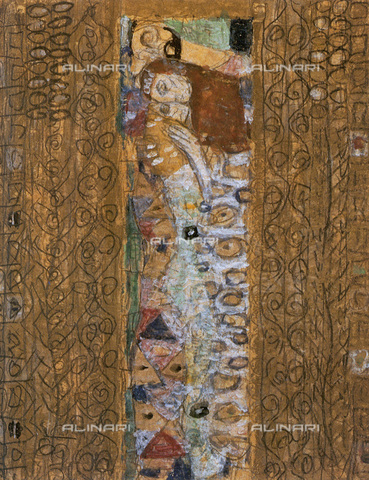 """IMA-F-621284-0000 - Study for the painting """"The Fulfillment"""" part of the frieze for Palais Stoclet in Brussels, particularly, watercolor, pencil, bronze gold, Gustav Klimt (1862-1918) - Austrian Archives / Imagno/Alinari Archives"""