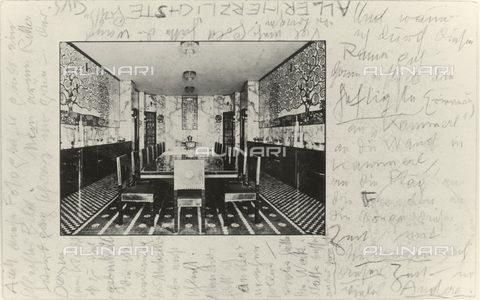 IMA-F-621285-0000 - Dining room of the Palais Stoclet in Brussels, postcard sent by Gustav Klimt to Emilie Flöge - Austrian Archives / Imagno/Alinari Archives