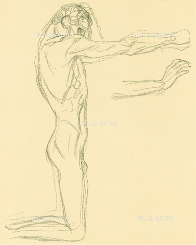 """IMA-F-621289-0000 - Study for the painting """"The weak human suffering"""" part of the Beethoven Frieze, pencil on paper, Gustav Klimt (1862-1918) - Austrian Archives / Imagno/Alinari Archives"""