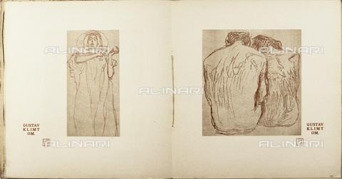 IMA-F-621303-0000 - Female figure and nudes, Hygieia paar und Menschen, illustration for Ver Sacrum, Number 6, Volume 4, 1901, lithograph, Gustav Klimt (1862-1918) - Austrian Archives / Imagno/Alinari Archives