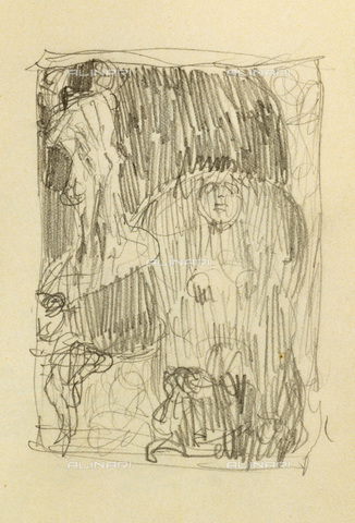 """IMA-F-621304-0000 - Preparatory drawing for """"The Poetry"""" panel to the University of Vienna destroyed during a fire at Immendorf Castle in 1945, pencil, Gustav Klimt (1862-1918), from the album of Sonja Knips, page 63 - Austrian Archives / Imagno/Alinari Archives"""