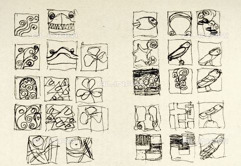 IMA-F-621311-0000 - Plant and animal elements, sketch for Das Werk Gustav Klimt's (AS 2158-2185), pencil drawing, Gustav Klimt (1862-1918) - Austrian Archives / Imagno/Alinari Archives