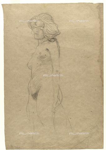 IMA-F-622223-0000 - Naked female figure, chalk on paper, Gustav Klimt (1862-1918), Wien Museum, Vienna - Wien Museum / Imagno/Alinari Archives