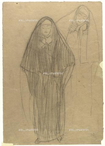 IMA-F-622224-0000 - Two studies of a nun, chalk on paper, Gustav Klimt (1862-1918), Wien Museum, Vienna - Wien Museum / Imagno/Alinari Archives