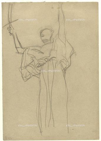 IMA-F-622225-0000 - Female figure holding a sword in his right hand, chalk on paper, Gustav Klimt (1862-1918), Wien Museum, Vienna - Wien Museum / Imagno/Alinari Archives