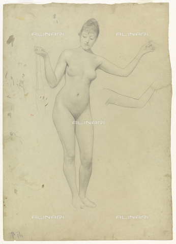 IMA-F-622226-0000 - Naked female figure and study of arms, pencil on paper, Gustav Klimt (1862-1918), Wien Museum, Vienna - Wien Museum / Imagno/Alinari Archives