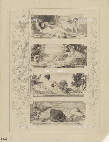 IMA-F-622251-0000 - The moments of the day, pencil, pen and ink on paper, Gustav Klimt (1862-1918), Wien Museum, Vienna - Wien Museum / Imagno/Alinari Archives
