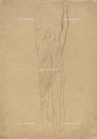 IMA-F-622252-0000 - Male figure with the toga, black chalk on paper, Gustav Klimt (1862-1918), Wien Museum, Vienna - Wien Museum / Imagno/Alinari Archives