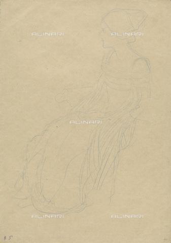 IMA-F-622253-0000 - Study for Portrait of a Lady, blue pen on paper, Gustav Klimt (1862-1918), Wien Museum, Vienna - Wien Museum / Imagno/Alinari Archives
