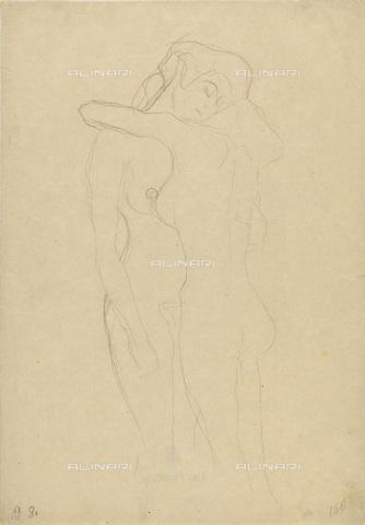 IMA-F-622254-0000 - Two naked female figures embracing, pencil on paper, Gustav Klimt (1862-1918), Wien Museum, Vienna - Wien Museum / Imagno/Alinari Archives