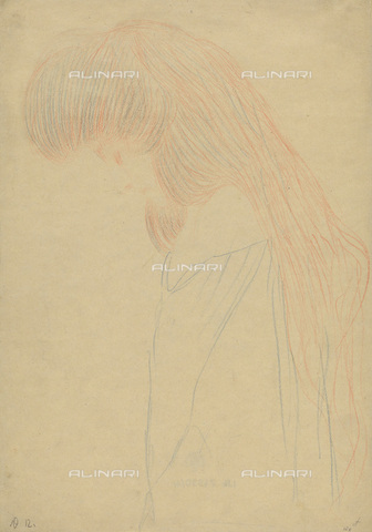 """IMA-F-622256-0000 - Figure of a young her head thrown, study for the opera """"Thalia and Melpomene"""", blue and red chalk on paper, Gustav Klimt (1862-1918), Wien Museum, Vienna - Wien Museum / Imagno/Alinari Archives"""