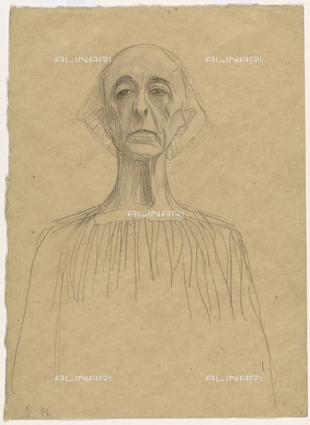 """IMA-F-622257-0000 - Portrait of frontal man, study for the """"Law"""" painted panel for the University of Vienna destroyed during a fire at Immendorf Castle in 1945, chalk on paper, Gustav Klimt (1862-1918), Wien Museum, Vienna - Wien Museum / Imagno/Alinari Archives"""