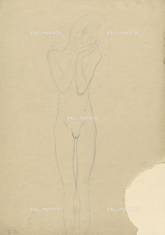 IMA-F-622258-0000 - Female nude, blue pencil on paper, Gustav Klimt (1862-1918), Wien Museum, Vienna - Wien Museum / Imagno/Alinari Archives