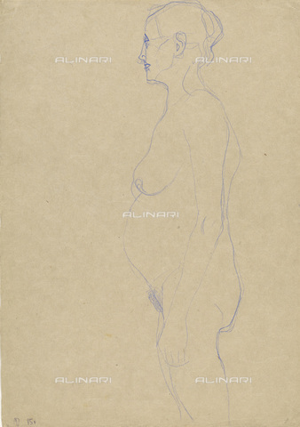 IMA-F-622259-0000 - Profile of elderly naked, blue pencil on paper, Gustav Klimt (1862-1918), Wien Museum, Vienna - Wien Museum / Imagno/Alinari Archives