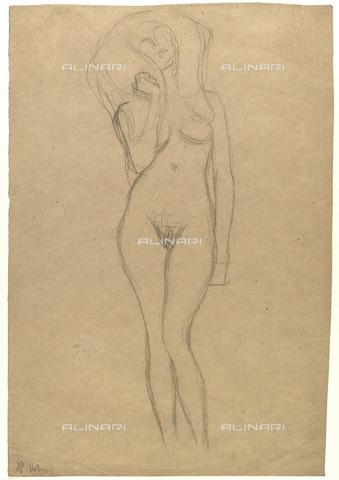 IMA-F-622260-0000 - Female nude standing, chalk on paper, Gustav Klimt (1862-1918), Wien Museum, Vienna - Wien Museum / Imagno/Alinari Archives