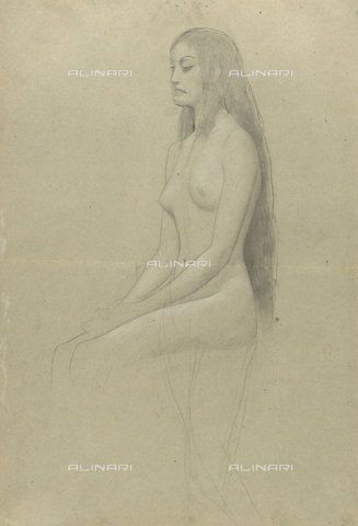 IMA-F-622261-0000 - Naked female figure with long hair sitting, pencil, black and white chalk on paper, Gustav Klimt (1862-1918), Wien Museum, Vienna - Wien Museum / Imagno/Alinari Archives