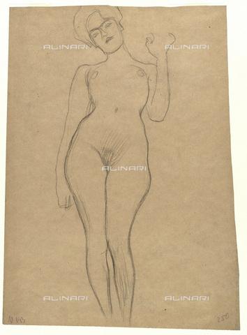 IMA-F-622263-0000 - Naked female figure with her left arm raised, chalk on paper, Gustav Klimt (1862-1918), Wien Museum, Vienna - Wien Museum / Imagno/Alinari Archives