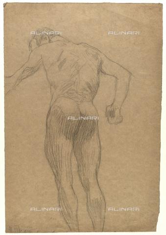 IMA-F-622265-0000 - Figure naked shoulders male, chalk on paper, Gustav Klimt (1862-1918), Wien Museum, Vienna - Wien Museum / Imagno/Alinari Archives