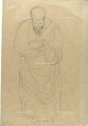 IMA-F-622266-0000 - Man with cloak and head tilted forward, pencil on paper, Gustav Klimt (1862-1918), Wien Museum, Vienna - Wien Museum / Imagno/Alinari Archives