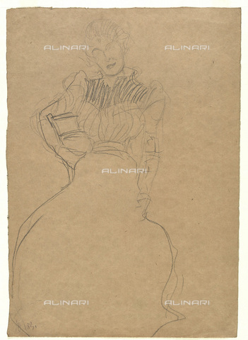 IMA-F-622269-0000 - Study for a Portrait of a woman sitting, chalk on paper, Gustav Klimt (1862-1918), Wien Museum, Vienna - Wien Museum / Imagno/Alinari Archives