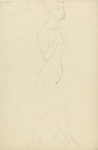 IMA-F-622270-0000 - Naked female figure standing in profile, pencil on paper, Gustav Klimt (1862-1918), Wien Museum, Vienna - Wien Museum / Imagno/Alinari Archives