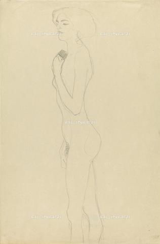 IMA-F-622272-0000 - Naked female figure standing in profile, pencil on paper, Gustav Klimt (1862-1918), Wien Museum, Vienna - Wien Museum / Imagno/Alinari Archives