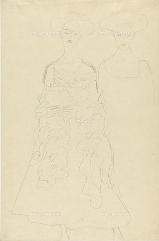 IMA-F-622273-0000 - Two studies for the portrait of a woman while reading, pencil on paper, Gustav Klimt (1862-1918), Wien Museum, Vienna - Wien Museum / Imagno/Alinari Archives