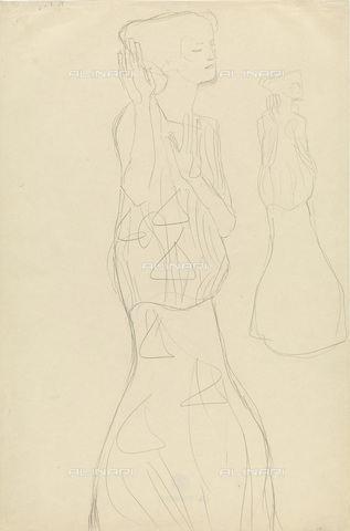 IMA-F-622274-0000 - Two studies for the portrait of a woman with arms raised, pencil on paper, Gustav Klimt (1862-1918), Wien Museum, Vienna - Wien Museum / Imagno/Alinari Archives