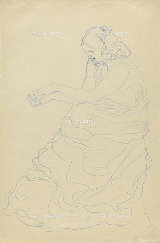 IMA-F-622275-0000 - Seated Woman with long dress, blue crayon His letter, Gustav Klimt (1862-1918), Wien Museum, Vienna - Wien Museum / Imagno/Alinari Archives