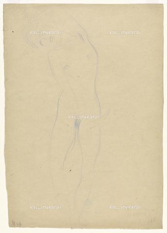 IMA-F-622278-0000 - Female Nude, study for Hetairoi Dialogues of Lucian, pen on paper, Gustav Klimt (1862-1918), Vienna, Wien Museum - Wien Museum / Imagno/Alinari Archives