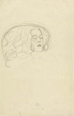 IMA-F-622279-0000 - Female head with closed eyes, pencil on paper, Gustav Klimt (1862-1918), Vienna, Wien Museum - Wien Museum / Imagno/Alinari Archives