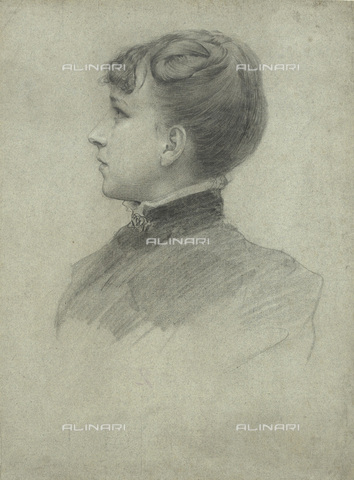 IMA-F-622280-0000 - Portrait of the sister Hermione by profile, pencil and chalk on paper, Gustav Klimt (1862-1918), Vienna, Wien Museum - Wien Museum / Imagno/Alinari Archives