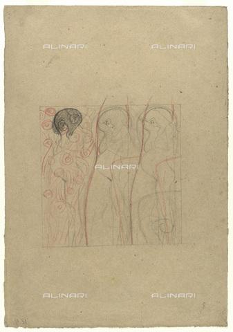 IMA-F-622281-0000 - Three pregnant women, sketch, pencil and chalk on paper, Gustav Klimt (1862-1918), Vienna, Wien Museum - Wien Museum / Imagno/Alinari Archives