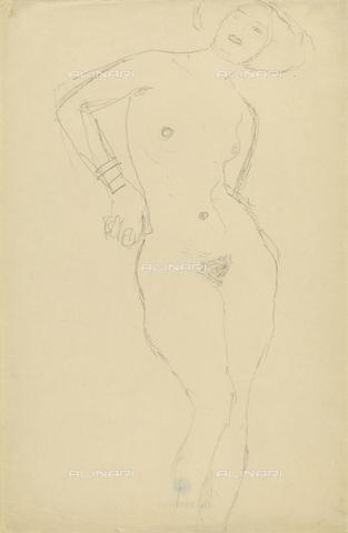 IMA-F-622282-0000 - Female nude standing, pencil on paper, Gustav Klimt (1862-1918), Wien Museum, Vienna - Wien Museum / Imagno/Alinari Archives