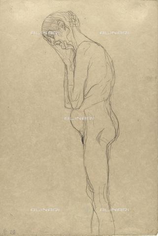 IMA-F-622284-0000 - Elderly woman nude in profile, study for Medizin, pencil on paper, Gustav Klimt (1862-1918), Wien Museum, Vienna - Wien Museum / Imagno/Alinari Archives