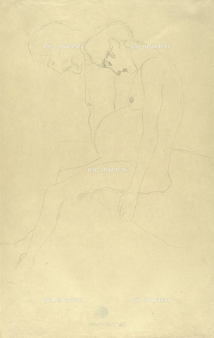 IMA-F-622285-0000 - Naked pregnant woman and naked man in profile, pencil on paper, Gustav Klimt (1862-1918), Wien Museum, Vienna - Wien Museum / Imagno/Alinari Archives