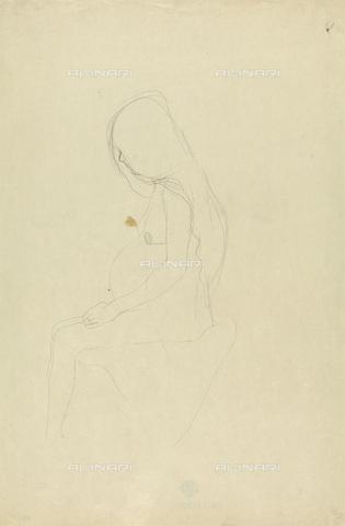 IMA-F-622290-0000 - Profile of pregnant woman, pencil on paper, Gustav Klimt (1862-1918), Wien Museum, Vienna - Wien Museum / Imagno/Alinari Archives