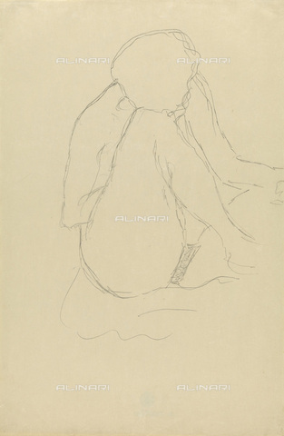 IMA-F-622291-0000 - Woman squatting naked, pencil on paper, Gustav Klimt (1862-1918), Wien Museum, Vienna - Wien Museum / Imagno/Alinari Archives
