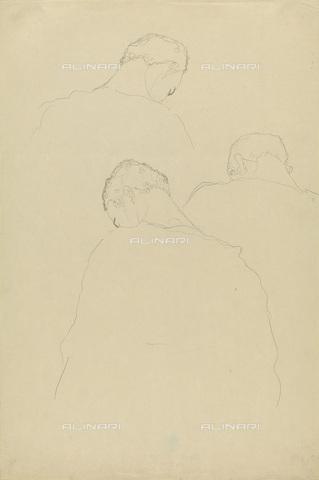 IMA-F-622292-0000 - Three men back view, pencil on paper, Gustav Klimt (1862-1918), Wien Museum, Vienna - Wien Museum / Imagno/Alinari Archives