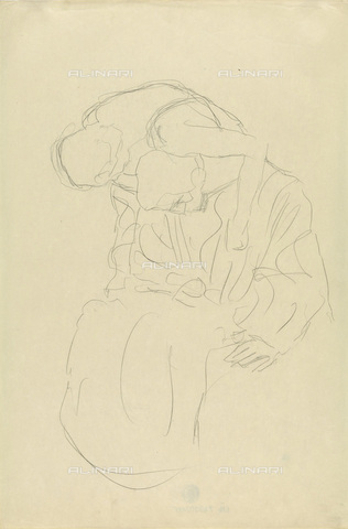 IMA-F-622294-0000 - Couple sitting and embraced, pencil on paper, Gustav Klimt (1862-1918), Wien Museum, Vienna - Wien Museum / Imagno/Alinari Archives