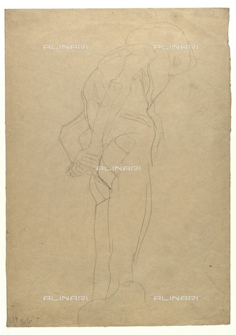 "IMA-F-622299-0000 - Study for the painting ""Law"", pencil on paper, Gustav Klimt (1862-1918), Wien Museum, Vienna - Wien Museum / Imagno/Alinari Archives"